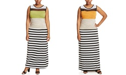 Just Love Women's Sleeveless Striped Maxi Dress - Tangerine - Size: 1X