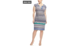 Mlle Gabrielle Women's Cap Sleeve Printed Shift Dress - Multi - Size: 1X
