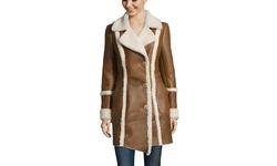 Pasha Veneto Women's Shearling Coat with Notch Collar - El Taba - Size: XS