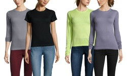 Mai Cashmere Women's Short Sleeve Crew Neck Top - Oynx - Size: Large