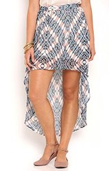 Deb Junior's Abstract Print High Low Skirt - Pink - Size: Medium