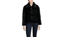 Peri Luxe Women's Knitted Mink Zip Jacket - Black - Size: XSmall