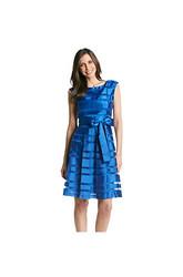 Chetta B Pleated Shadow Stripe Fit & Flare Dress - Aqua - Size: 6