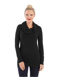 French Women's Bambi Solid Cowl Neck Sweater - Black - Size: Large