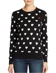 French Women's Broken Heart Knits Sweater - Black/White - Size: Small