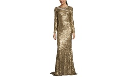 Badgley Mischka Women's Printed Sequin Yoke Gown - Gold - Size: 12
