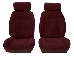Acme Front Burgundy Velour Vinyl Bucket Seat Upholstery - Maroon
