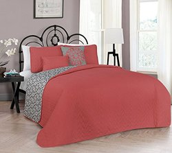 Avondale Manor Harper 5-Piece Quilt Set - Coral - Size: King