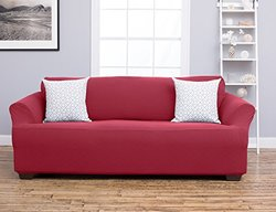 Home Fashion Cambria Strapless Sofa Slipcover - Burgundy - Size: Sofa