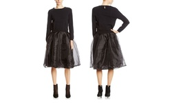 English Factory L/S Dress with Sweater Top - Black - Size: Small