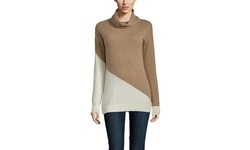Indulge Cashmere Women's Turtleneck Sweater - Camel/Ivory - Size: L