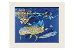 """Guy Harvey Double Matted Mini Print - Dolphin Summer - 11"""" x 14"""""""