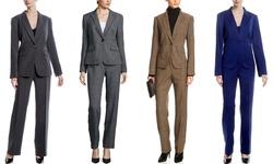 John Meyer Pinstripe One Button Pant Suits - Light Grey - Size: 8