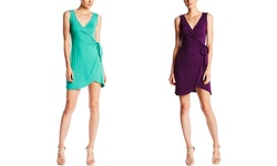 Casual Couture Sleeveless Wrap Dress - Marine Teal - Size: XS