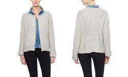 Cliche L/S Open Cardigan - Ivory - Size: Small