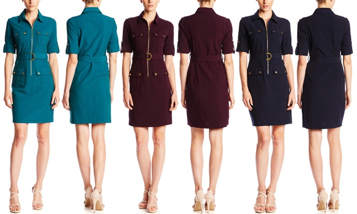 special sales special for shoe quality products Sharagano Women's Elbow Sleeve Shirt Dress with Belt - Eggplant ...
