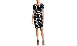 Pink Tartan Women's Giraffe Dress - Black/Ivory - Size: S