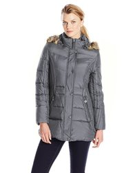 Anne Klein Women's Down Coat With Faux Fur Trim Hood - Slate - Size: Large