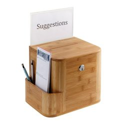 "Safco Bamboo Suggestion Box - Natural - Size: 10""x8""x14"""