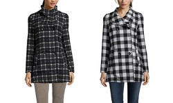 Yoki Women's Plaid Double Breasted Collar Coat - Black/Off-White - Size: M