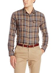 Van Heusen Men's Heathered Plaid Button Up Shirt - Brown - Size: M