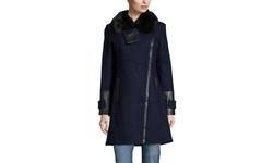 Via Spiga Faux Fur Trimmed Wool Coat - Black - Size: 8