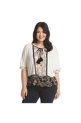 Democracy Plus Size Printed Peasant Top with Tassels - Multi - Size: 3X