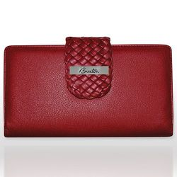Buxton Thin Holder Card Leather Case - Dark Red