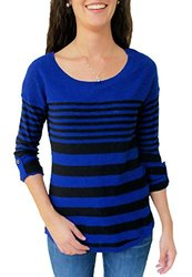 Hannah Juniors Varied Stripe 3/4 Sleeve Fashion Sweater - Black - Size: S