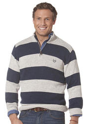 Chaps Striped Mockneck Sweater Artic Twist - Size: XXL