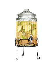 Home Essentials & Beyond 1919S Clear Ribbed Dispenser With Stand, 1.5 gal