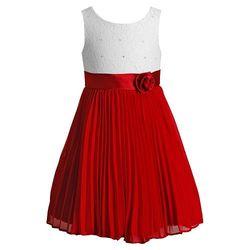 Girls Emily West Pleated Chiffon Dress - White/Red