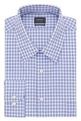 Arrow Regular Fit Spread Collar Check Dress Shirt - Bluebird - Size: XXL x 34/35