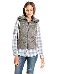 Miss Chievous Junior's Hooded Puffer Vest - SOS Black - Size: Medium