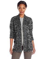 Jason Maxwell Women's Marled Hi-Lo Cardigan - Egret/Black - Size: XL