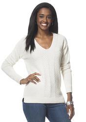Chaps Women's Metallic Sweater - White - Size: Medium