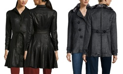 Byron Lars Faux Leather Trench Coat - Black - Size: 10