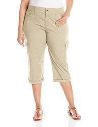 Lee Women's Plus-Size Relaxed Fit Twill Capris - Cafe - Size: 20