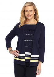 Alfred Dunner Women's Sausalito Layered Cardigan - Navy - Size: Medium