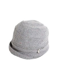 David & Young Vintage Cloche Bucket Hat With Buckle - Grey