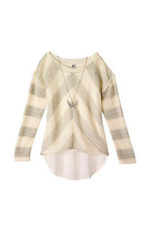 Beautees Big Girls' Mixed Fabric Top with Cinched Back