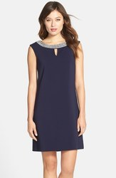 Tahari ASL Embellished Neck Crepe Shift Dress - Navy - Size: 4