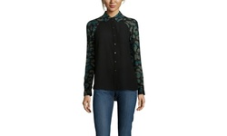 LAMB Women's Animal Plaid Print Blouse - Green - Size: 4