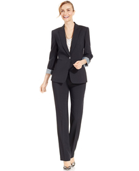 Tahari ASL Women's One Button Pinstripe Pantsuit - Charcoal - Size: One