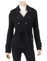 Ashley Junior Girls Double Breasted Hooded Jacket - Charcoal - Size: S
