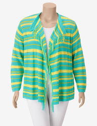 Ruby Rd. Women's Patio Party Striped Knit Fringe Cardigan - Aqua & Yellow
