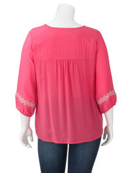 Krazy Kat Women's Plus-Size Tribal Embroidered Peasant Top - Pink - Sz:1X