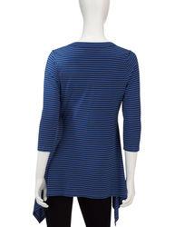 Chaus Women's Striped Sharkbite Top - Blue - Size: Medium