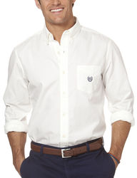 Chaps Men's Poplin Woven Solid Color Shirt - White - Size: M
