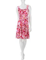 London Times Women's Leaf Print Fit & Flare Dress - Oatmeal - Size: 6